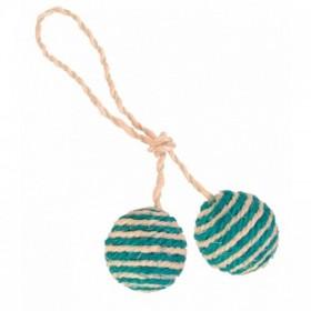 2 palline con corda in sisal